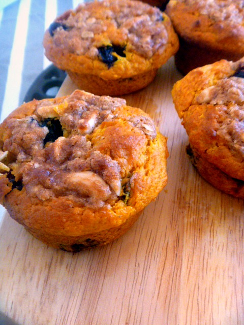 Blueberry Pumpkin Muffins with an Almond Oat Streusel:  Tender savory pumpkin flavored muffins bursting with bright blueberries and topped with the most decadent almond oat streusel! - Slice of Southern