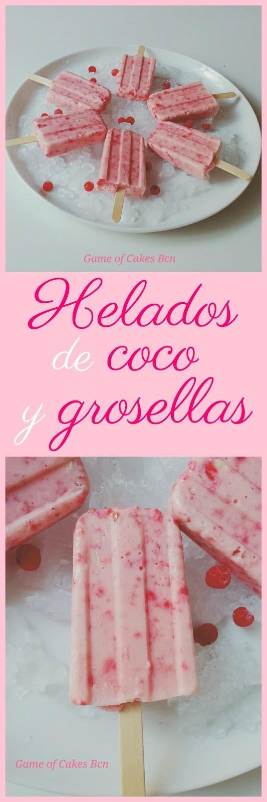 Helados de leche de coco y grosellas, paletas heladas, polos