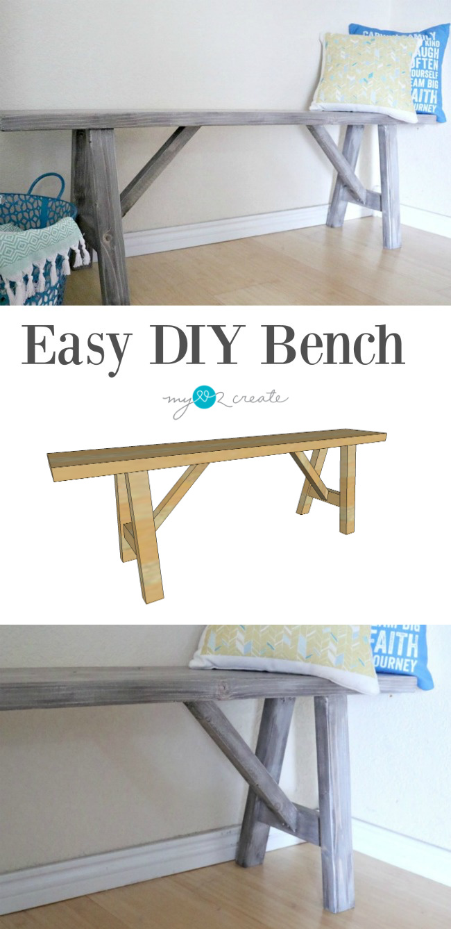 Create that farmhouse look with these Easy DIY Bench Plans at MyLove2Create.
