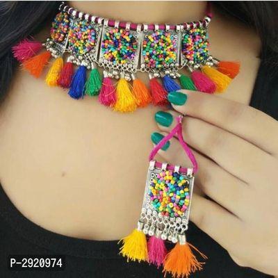 Trendy Oxidised Beaded Choker Necklace Set