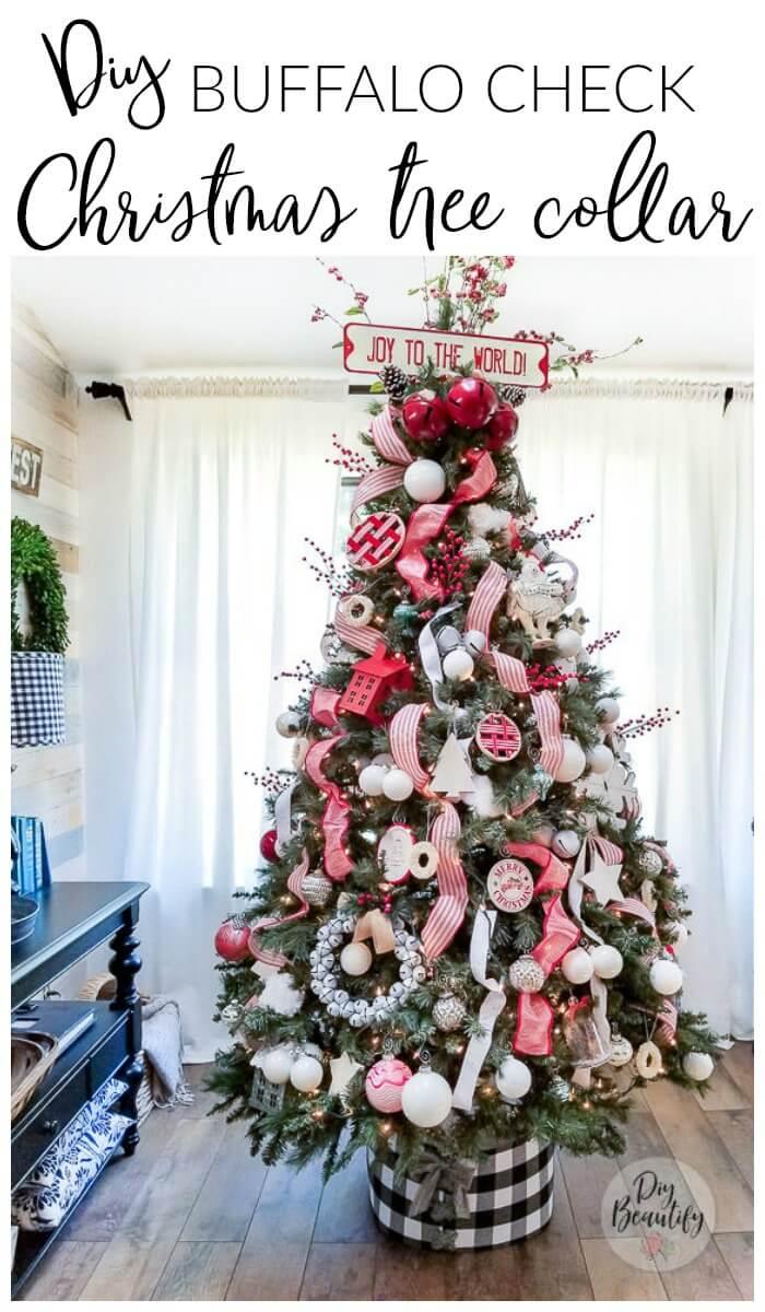 Christmas tree with DIY buffalo check tree collar