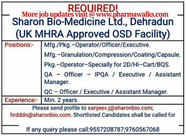 Sharon Bio - Medicine Ltd - Urgent hiring for Manufacturing / QA / QC / Packing