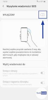 Samsung Włączanie funkcji wysyłanie wiadomości sos