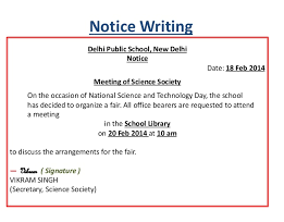 sample of notice writing
