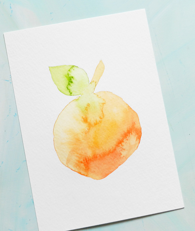 watercolor peach painting diy