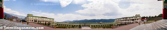 This Panorama is made up of 7 different photographs clicked from left to right by standing on the stairs of main temple inside Monastery of Dzongsar Khyentse Rinpoche Institute. This is ahuge campus offering different types of courses. This shows 180 degree view from main temple and the main building in front of these huge hills, is the place where various monks/students stay. This Place is near to Chauntra Town which come on the way from Palampur to Mandi via Jogindernagar. Place is in Mandi District of Himachal Pradesh.