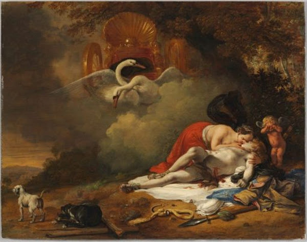 Venus Mourning the Death of Adonis by Bartholomeus Breenbergh, Macabre Art, Macabre Paintings, Horror Paintings, Freak Art, Freak Paintings, Horror Picture, Terror Pictures