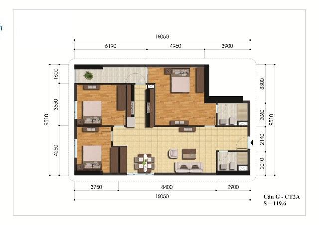 Mặt bằng căn hộ G - CT2A chung cư Gelexia Riverside