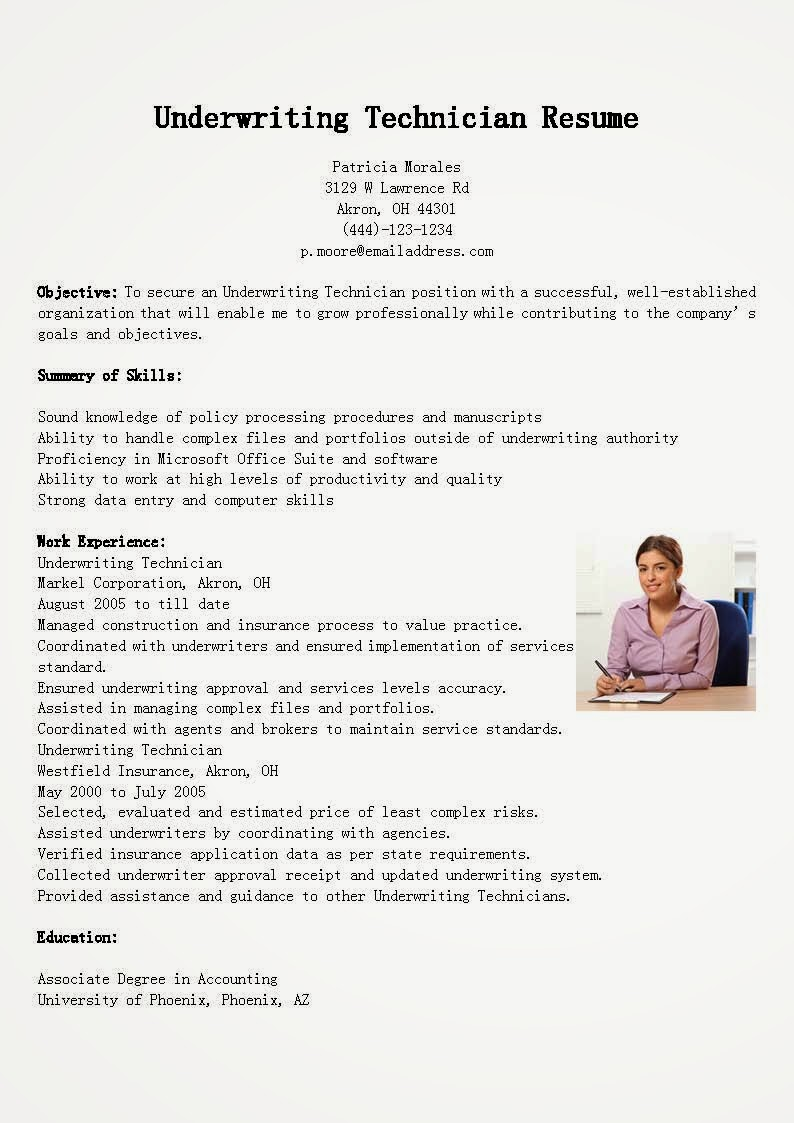 resume samples  underwriting technician resume sample