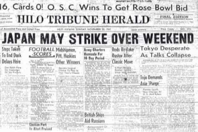 Hilo Tribune-Herald of 30 November 1941 worldwartwo.filminspector.com