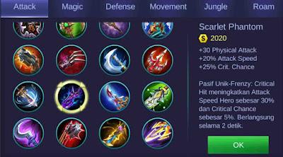Scarlet Phantom build Mobile Legends