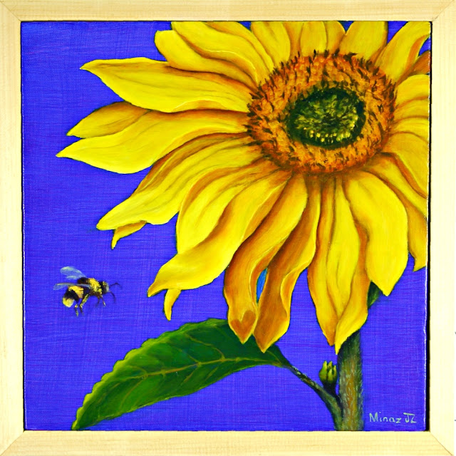 "Sunflower Diptych (TOP) Bee  12""x 12"" oil on canvas  by Minaz Jantz"