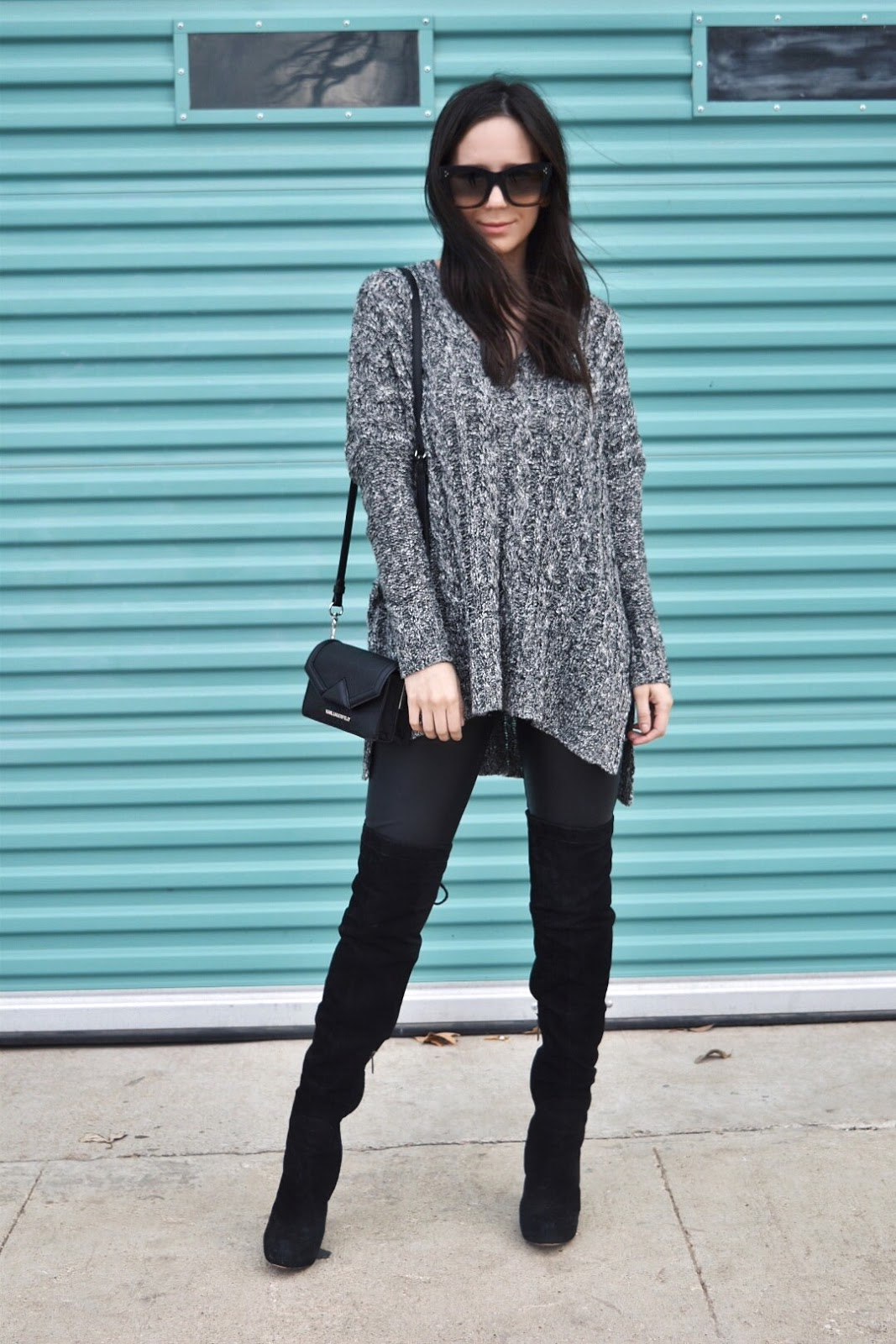 Oversize Sweater and Knee High Boots