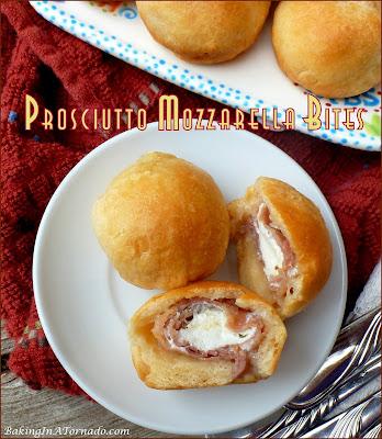 Prosciutto Mozzarella Bites, crunchy on the outside, salty prosciutto and melted herb mozzarella on the inside. | recipe developed by www.BakingInATornado.com | #recipe #appetizer