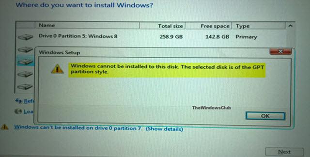 حل مشكلة GPT Partition أثناء تثبيت windows 10