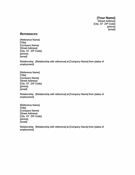 References Click For Details Example Job Reference Page For Resume