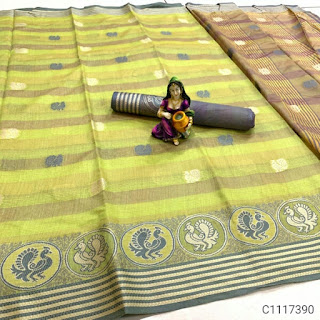 Pretty Cotton Woven With Butti Work Sarees