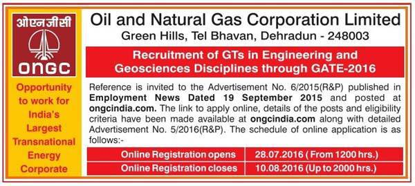 Oil and Natural Gas Corporation Limited Recruitment 2016 for 417 Various Post