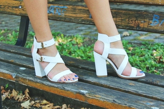 White sandals with chunky heels