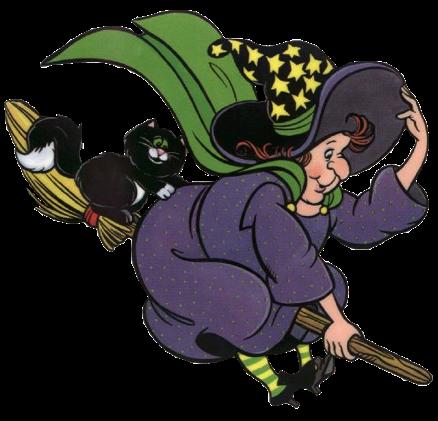 bruja vieja volando con su escoba imagenes halloween
