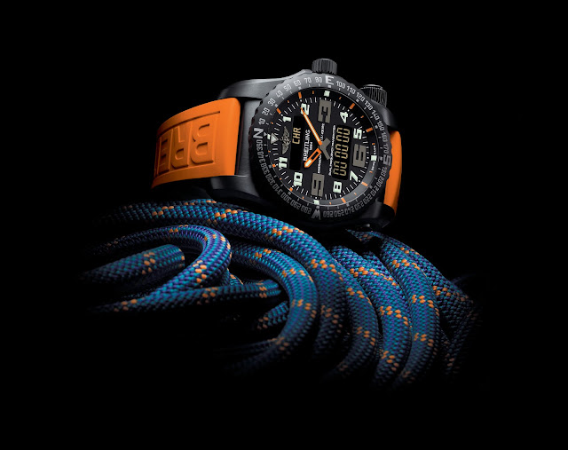 BREITLING NIGHT MISSION naranja cuerdas frontal blog debajo del reloj