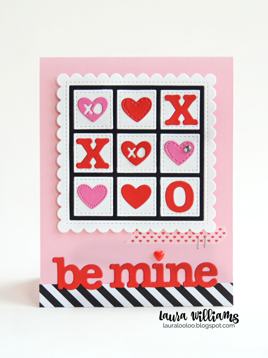 Make a tic tac toe themed Valentine with simple die cut X's and O's from Impression Obsession. Stop by my blog for more handmade Valentine card ideas like this one, featuring die cutting and stamping.