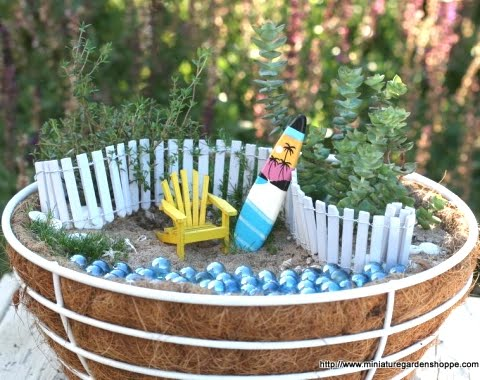 miniature garden in cocoa basket