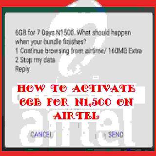 Airtel 6GB for N1,500