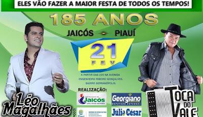 JAICÓS | Aniversário de 185 anos terá shows com Toca do Vale e Léo Magalhães