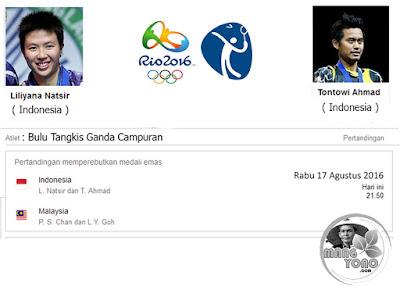 Final Bulutangkis T Ahmad / L Natsir ( Indonesia ) lawan H P Soon/G L Ying ( Malaysia ) Olimpiade Rio 2016