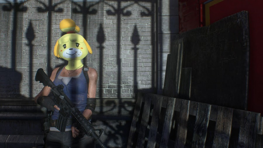 resident evil 3 remake mod isabelle mask animal crossing jill valentine survival horror crossover capcom nintendo pc