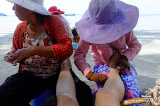 Leg hair threading in Otres beach