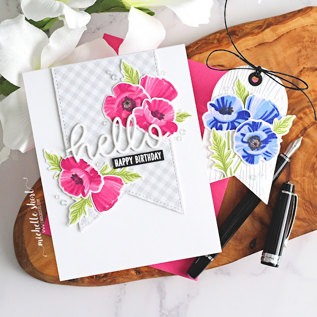 Sunny Studio Stamps: Slimline Pennant Dies Poppy Fields Hello Word Die Build-A-Tag Dies Card Tag by Michelle Short
