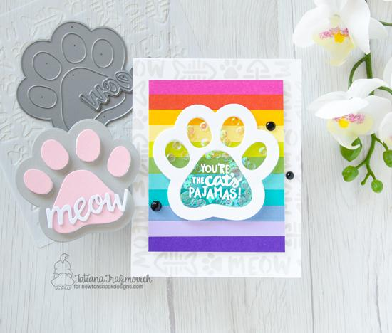 Pawprint Shaker Card by Tatiana Trafimovich | Cat-itude Stamp Set, Pawprint Shaker Die & Meow Stencil by Newton's Nook Designs #newtonsnook #handmade
