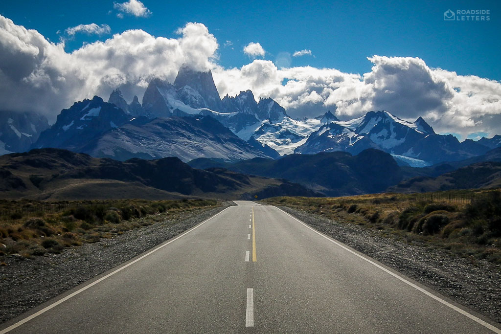 Road to El Chalten in Argentine Patagonia with a view of Mount Fitzroy