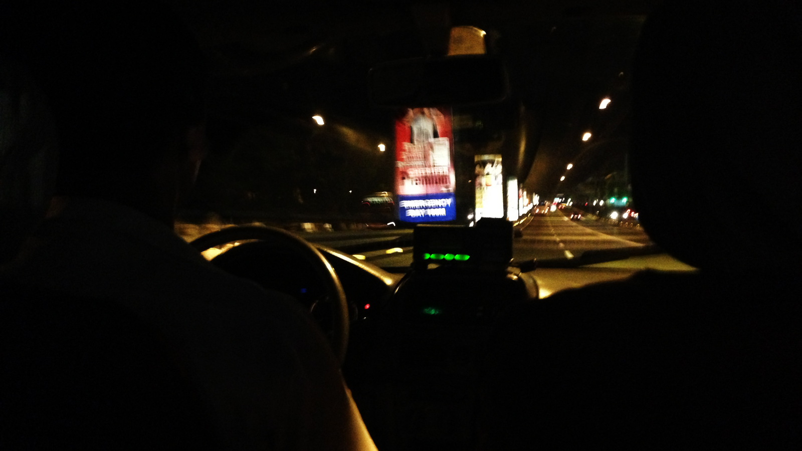 I was on a taxi last night. Note the meter is not turned on.
