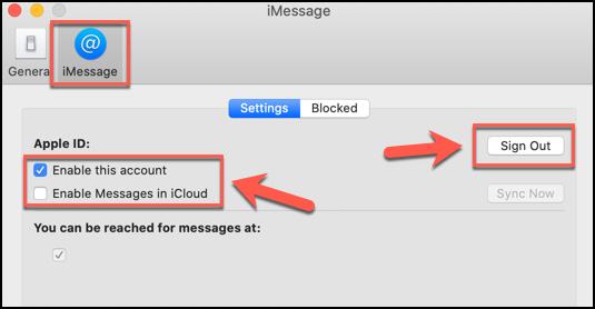 انقر فوق تسجيل الخروج ، أو قم بإلغاء تحديد جميع مربعات الاختيار ذات الصلة ، لتعطيل تطبيق الرسائل على نظام macOS