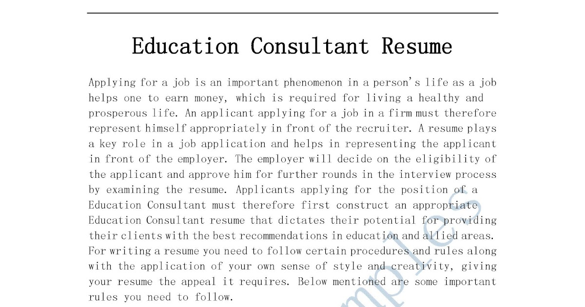 education consultant resume - Josemulinohouse