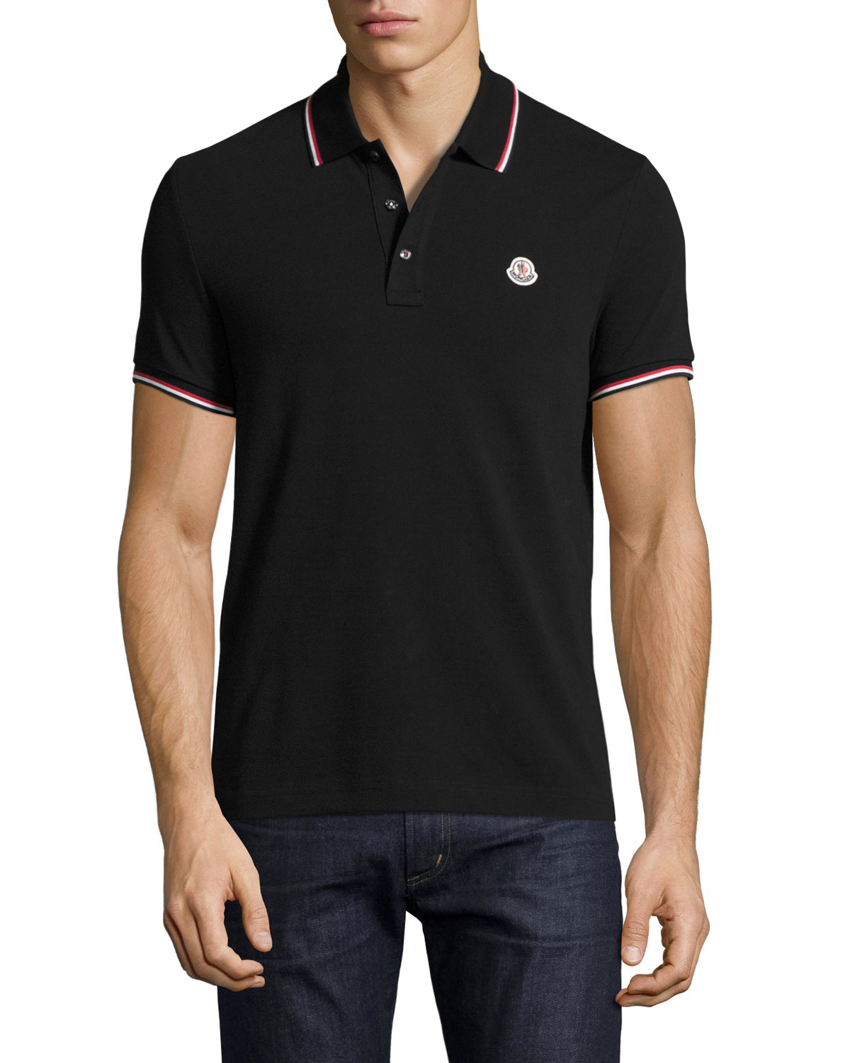 the apparels moncler tipped piqu polo shirt. Black Bedroom Furniture Sets. Home Design Ideas