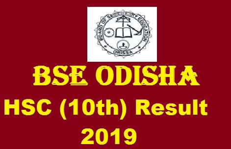 BSE Odisha 10th Result 2019