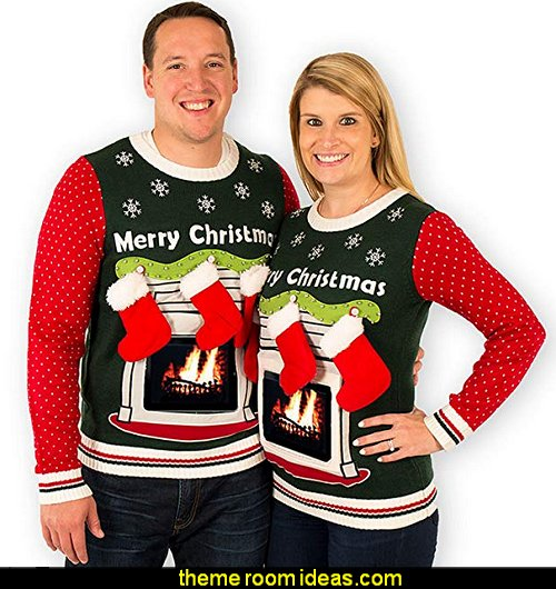 ugly sweaters - Christmas ugly sweaters  - decorate yourself - womens ugly sweaters - ugly mens sweaters - embellished ugly sweaters - fun sweaters - novelty sweaters - Christmas party sweaters - quirky party sweaters -  Christmas party hats                     matching ugly sweaters