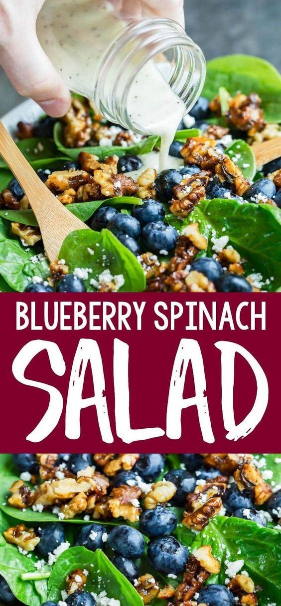 Blueberry Spinach Salad with Lemon Poppyseed Dressing