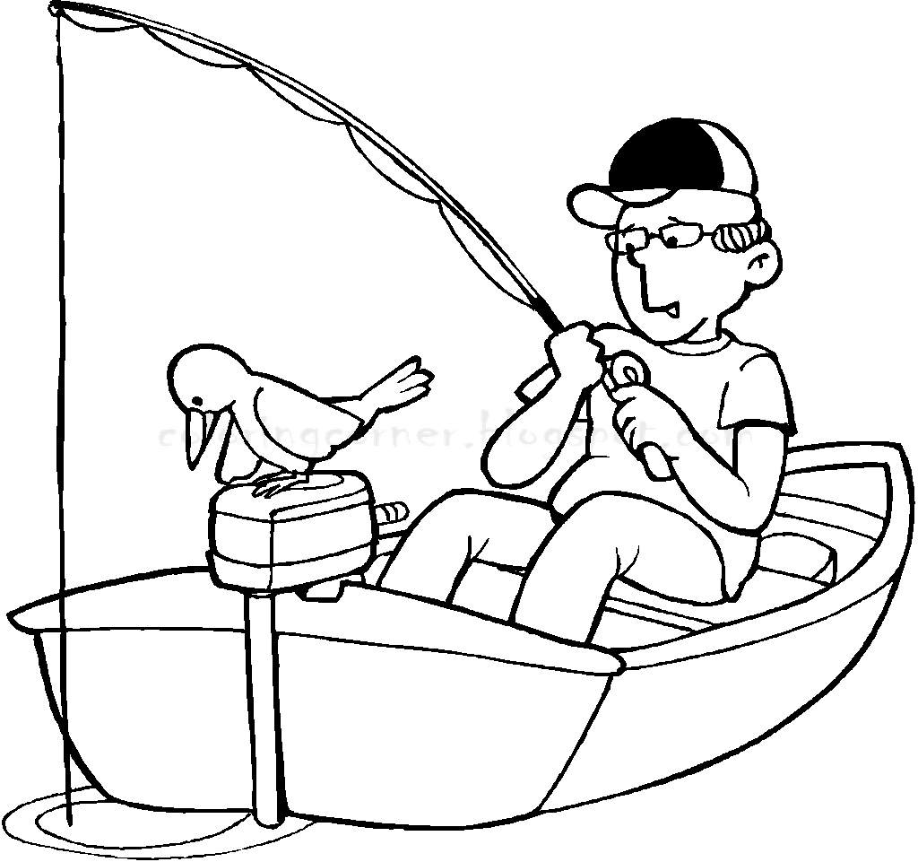 coloring pages of fishing - photo#21