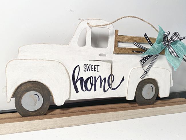 Farmhouse truck on shelf