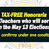 Tax-Free Honoraria to Teachers who will serve on May Elections
