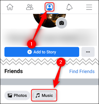 """اضغط على أيقونة الملف الشخصي ، ثم اضغط على """"الموسيقى""""."""