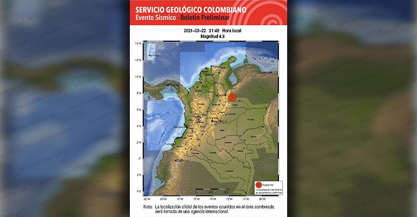 Fuerte Sismo en Colombia de Magnitud 4.9 (Hoy Lunes 22 Marzo 2021) Terremoto Temblor Epicentro - VENEZUELA - SGC - www.sgc.gov.co