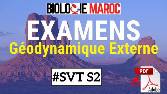Examens corrigés de Géodynamique Externe SVT Semestre S2 PDF à Télécharger