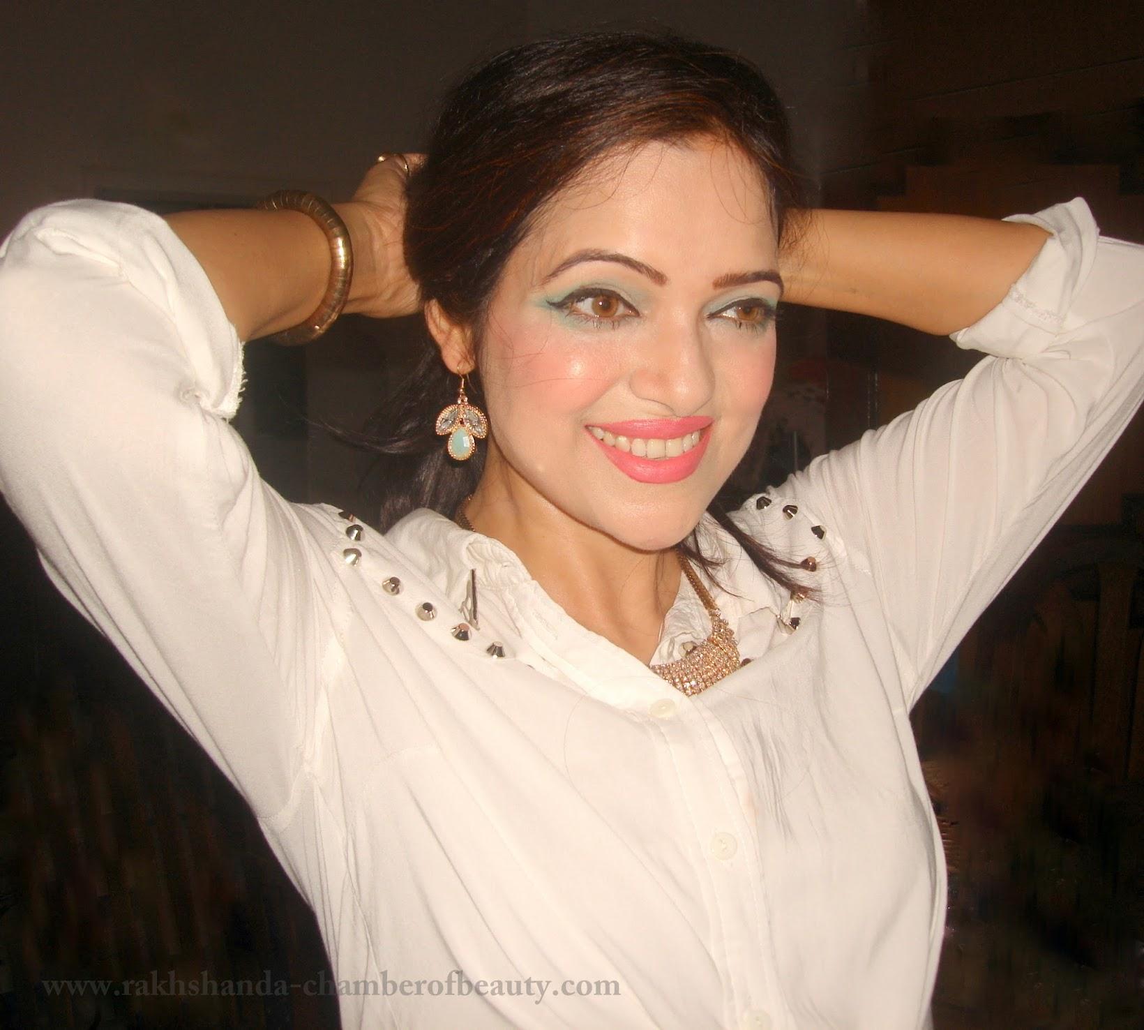 Blue eye makeup & pink lips, FOTD, Indian beauty blogger