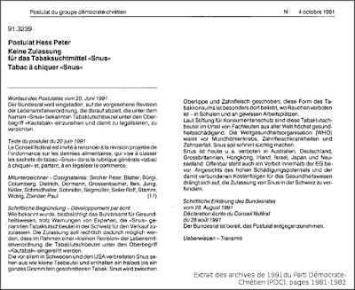 Extrait des archives de 1991 du PDC (pages 1981-1982)